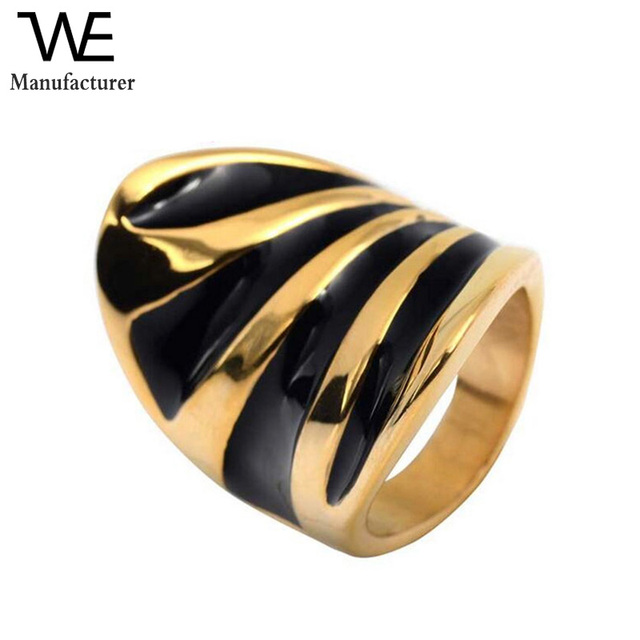 Vintage Fashion Patry Jewelry Business Wide Black Gold Plating Men Rings in Zinc Alloy