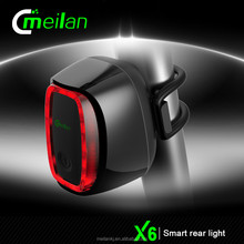 factory Meilan X6 rechargeable led bicycle lights smart safety rear light for bicycle