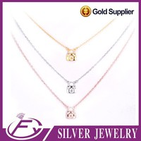 Strong pave setting cubic zircon stone 925 sterling silver necklace