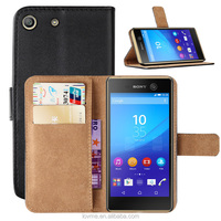 Book Flip Wallet Leather Stand Phone Case Cover For Sony Xperia M5