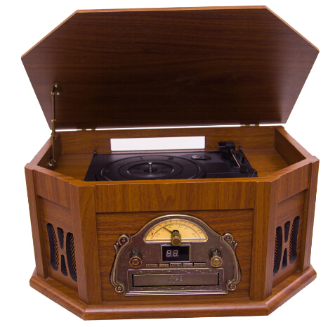 Hi-end wooden retro cd cassette radio record usb turntable player