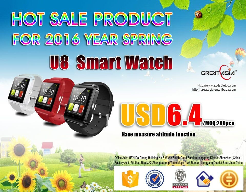 The latest bluetooth smart phone manufacturers selling U8 2016 watches