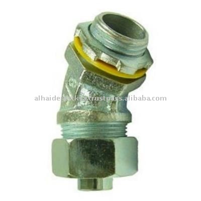 45 Deg Liquid-tight Conduit Connector Insulated Malleable Iron