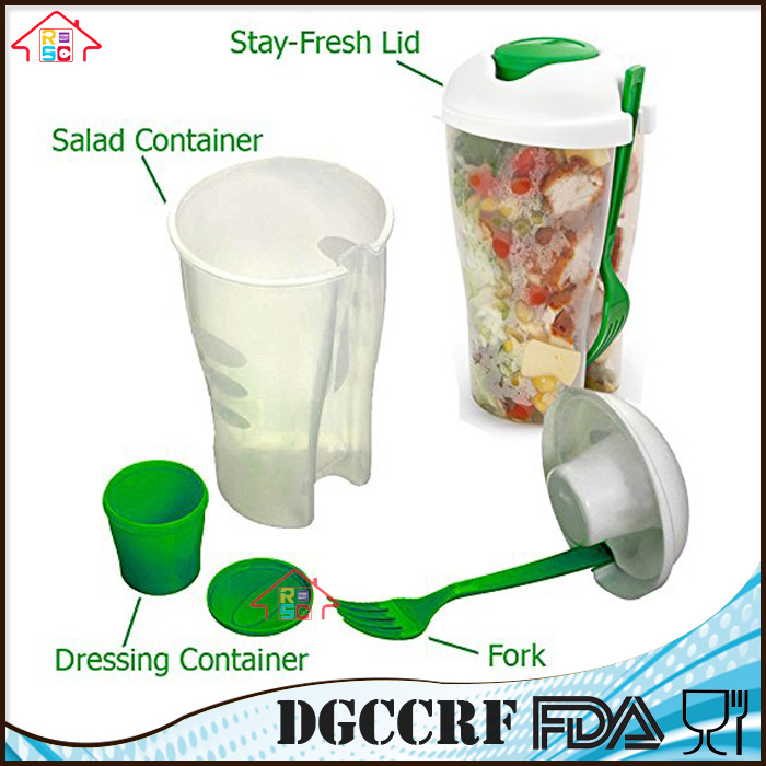 Promotional gift Custom OEM printed plastic salad dressing shaker with fork and lid