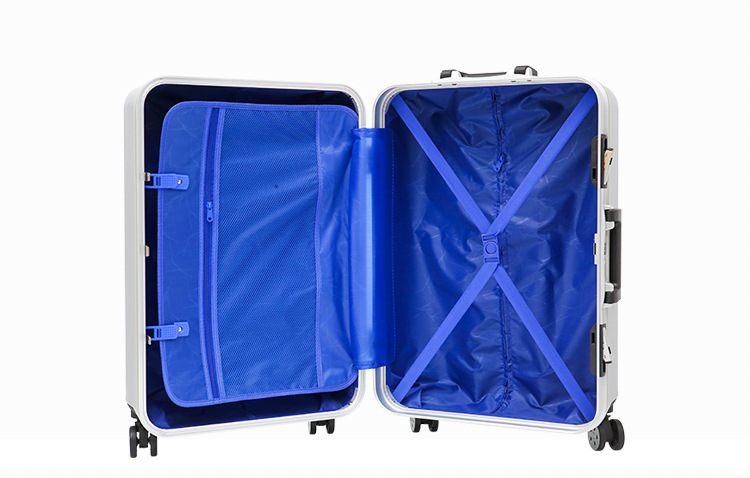 China supplier wholesale hard shell luggage aluminum frame abs pc luggage case