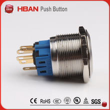 HBAN 25mm 12V 5A Power Symbol Angel Eye Halo Car White LED Light Metal Push Button Toggle Switch with Socket Plug Wire