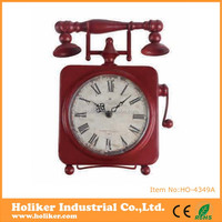 special antique design telephone shape unique table clock with metal material