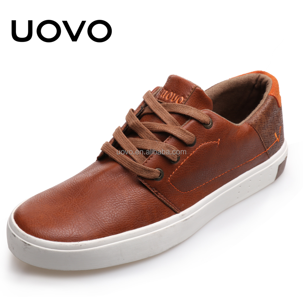 brown PU rubber vulcanized casual men shoe
