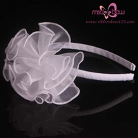 white organza flower headband for princess girls