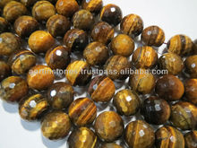18mm Tiger Eye faceted round gemstone beads