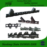 Agricultural roller chains with attachments