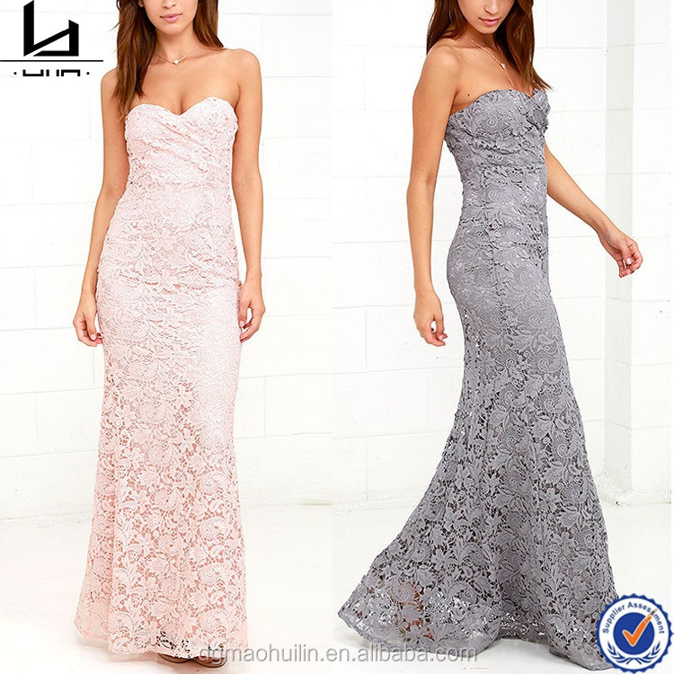 Sexy nighty maxi dresses sweetheart neck strapless long lace gown