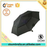 Hot Sell in USA Double Canopy Layer Air Vented Strong Windproof 3 Folding Automatic Compact Travel Umbrella