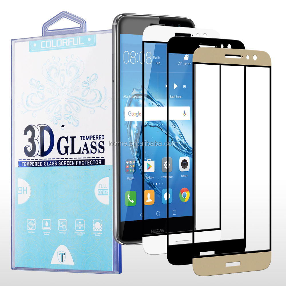 Chrome Printed Color 3D Full Screen 9H Tempered Glass Screen Protector for Huawei Nova Plus