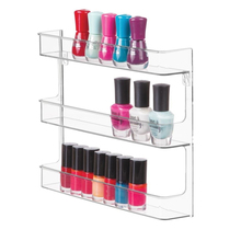 Wholesale Custom Plastic Acrylic 3 Tier Clear Transparent Nail Polish Organizer Storage, Wall mount nail polish display holder