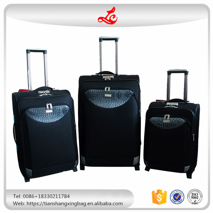 cheap fabric plus leather luggage sets 3 pieces 2 wheels
