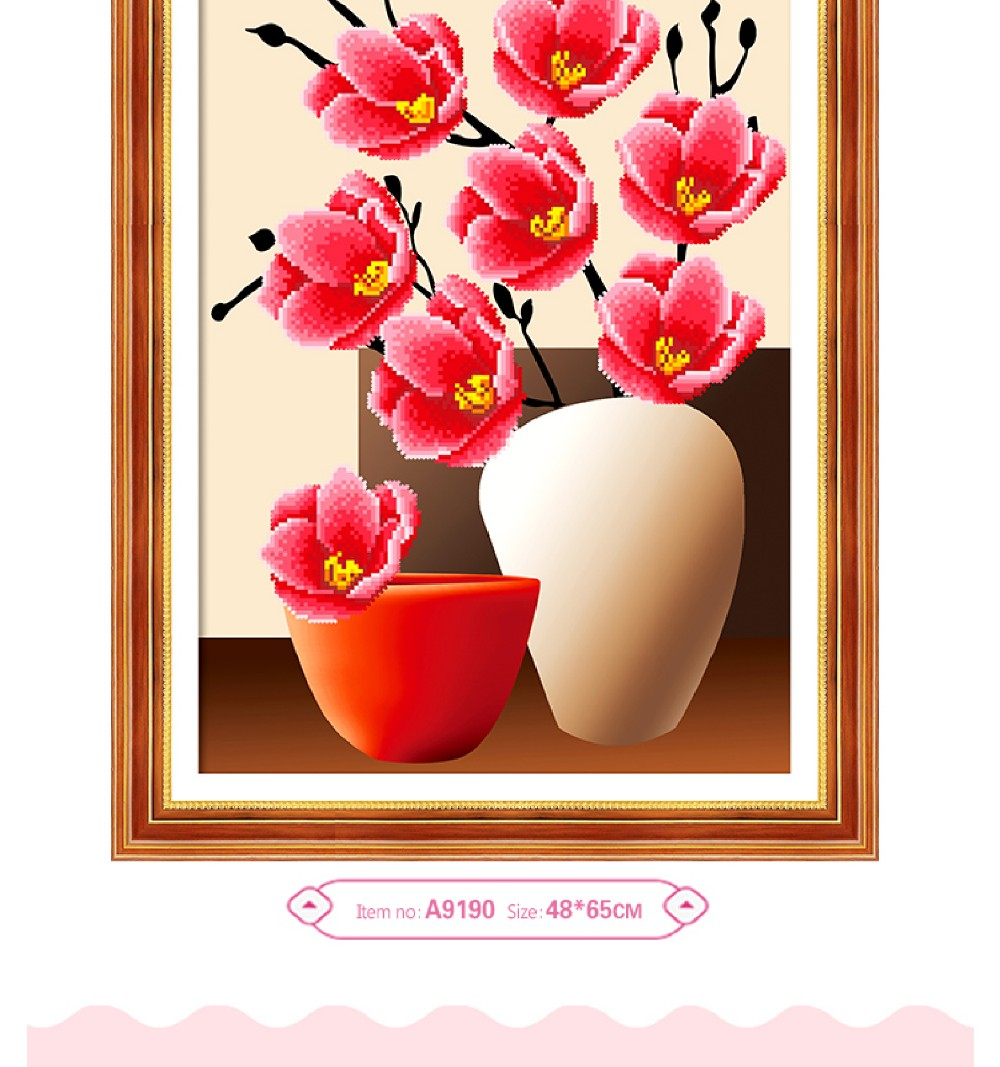 Plum blossom living room decorative painting 5D resin round diamond mosaic craft business gift
