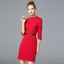 2017 designer boutique turtle neck half sleeves formal slim fit waist blet bead women clothing pictures office dress for ladies