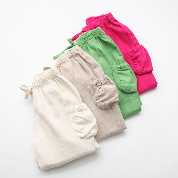 MS65129C solid color pockets style children bloomers for kids