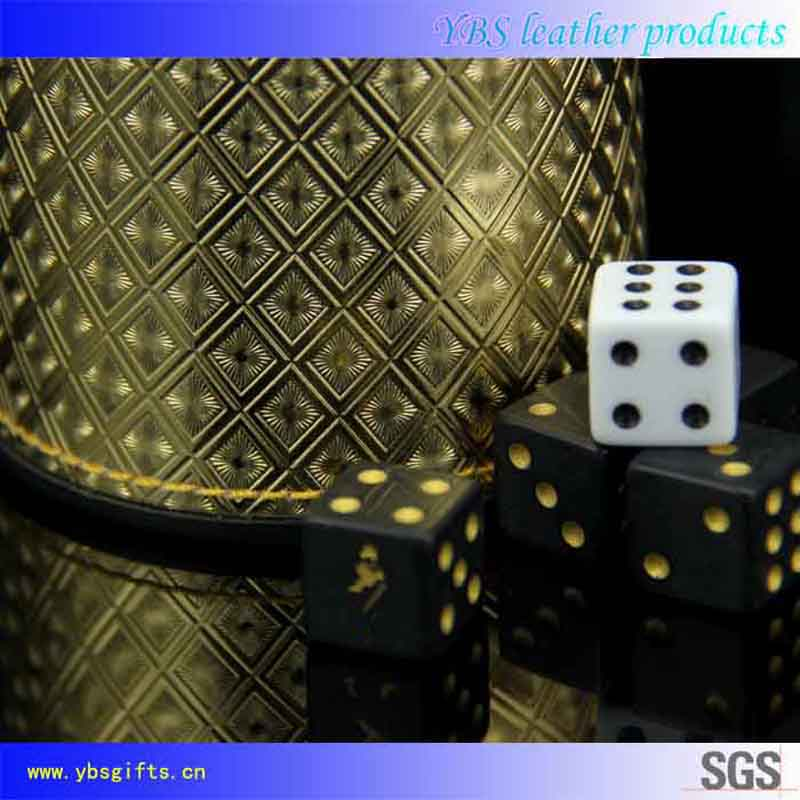 Personalized Gold PVC Leather Dice Cup with Rhombus Pattern
