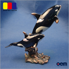 Three Killer Whale Together Resin Crsfts African Animal Figurines