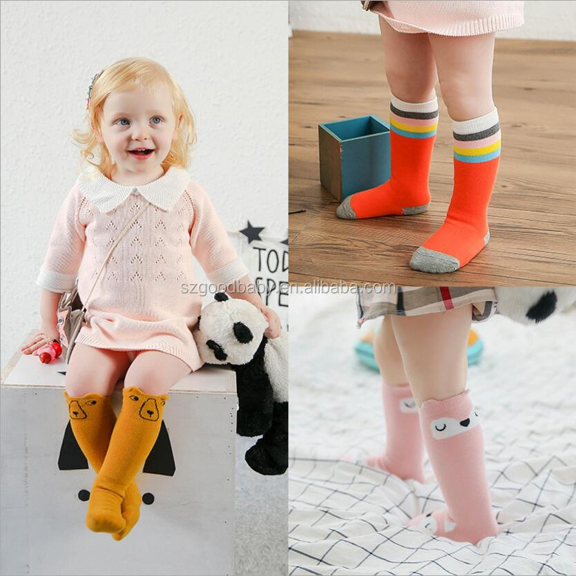 handmade cotton toddle girl pattern sewn infant high knee socks