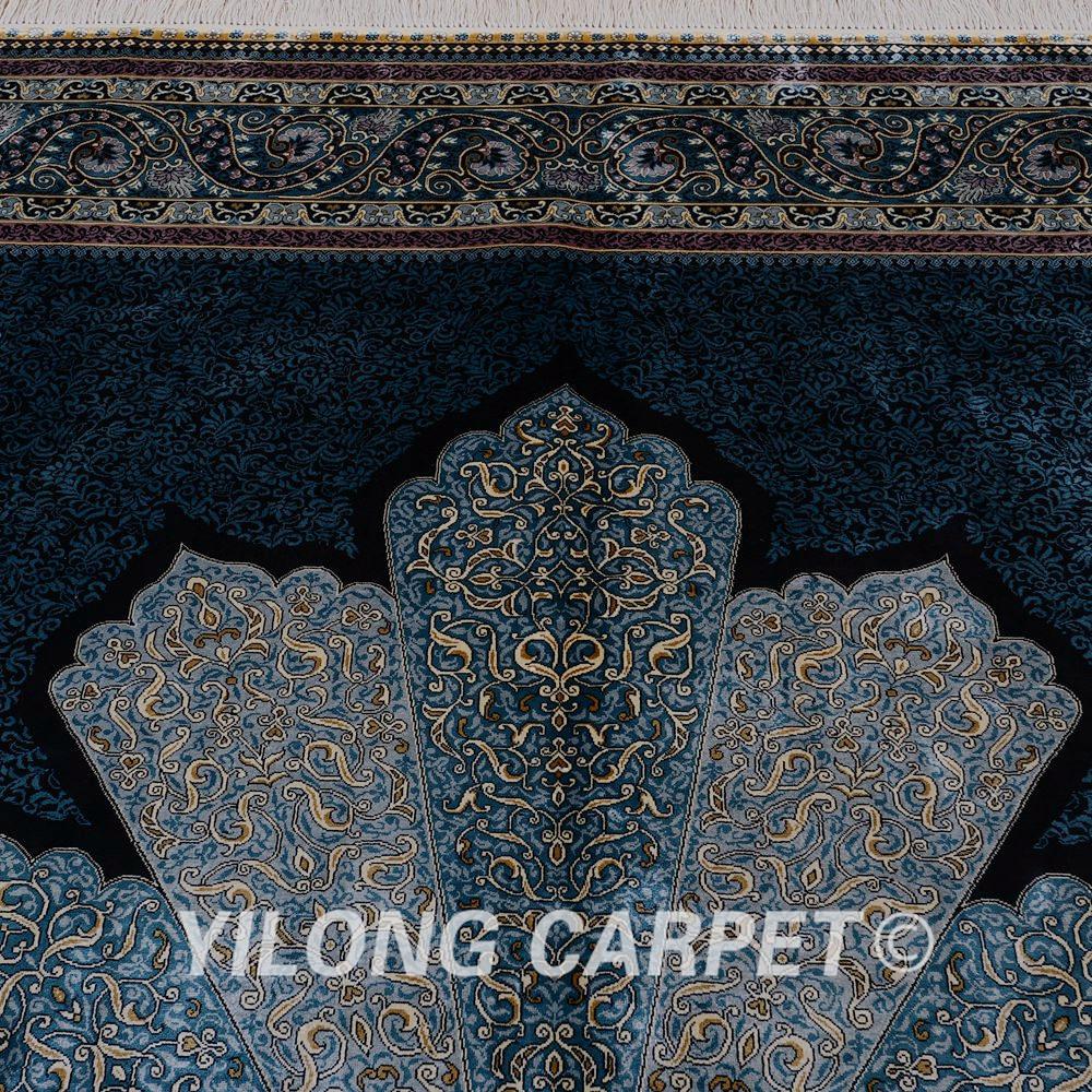 yilong 2x3 m lujo azul turqu a alfombra de seda persa