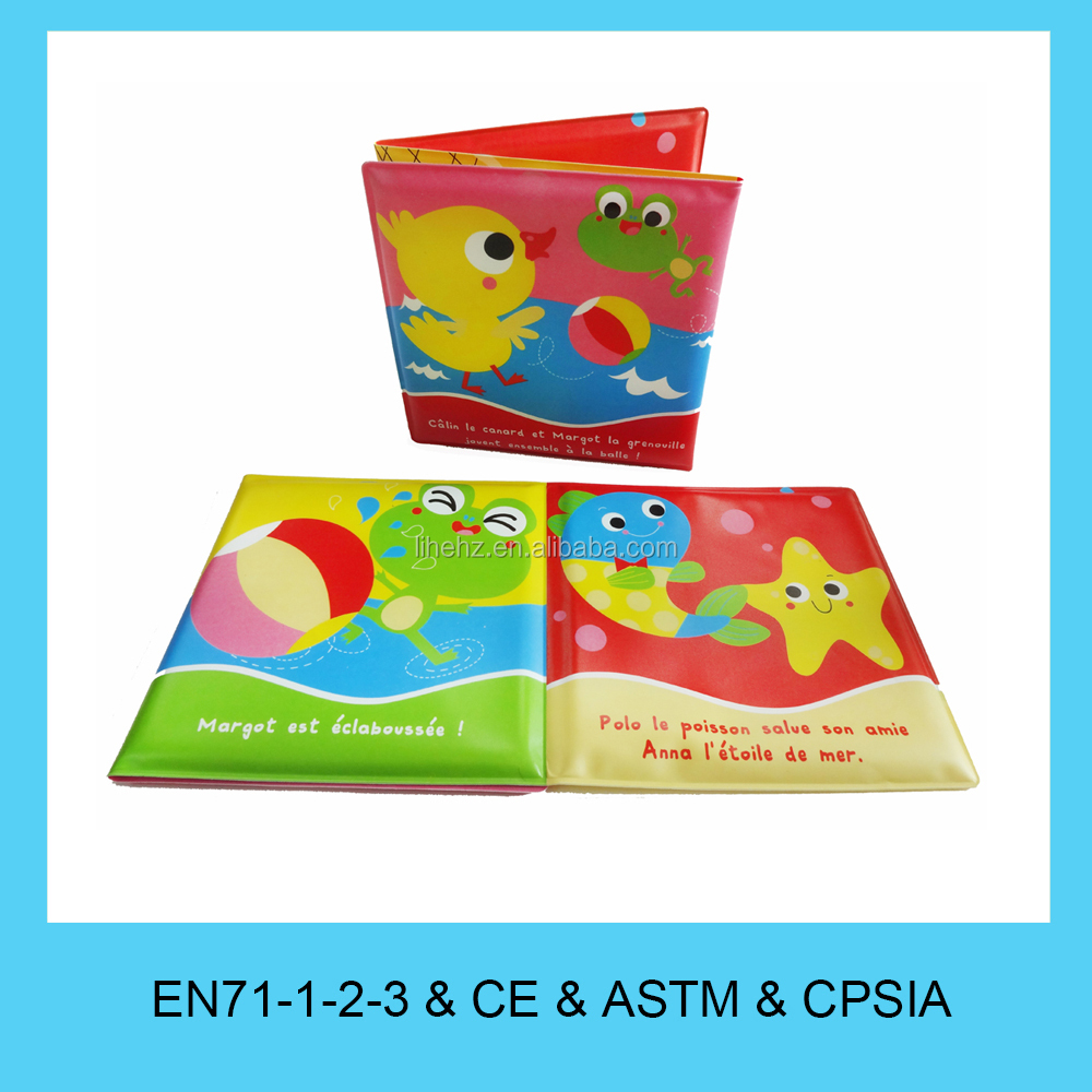 Custom design baby toy soft PEVA foam waterproof bubble bath baby bath book