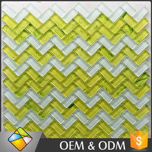 Hot Sale Herringbone Green Crystal Glass Mosaic Tile