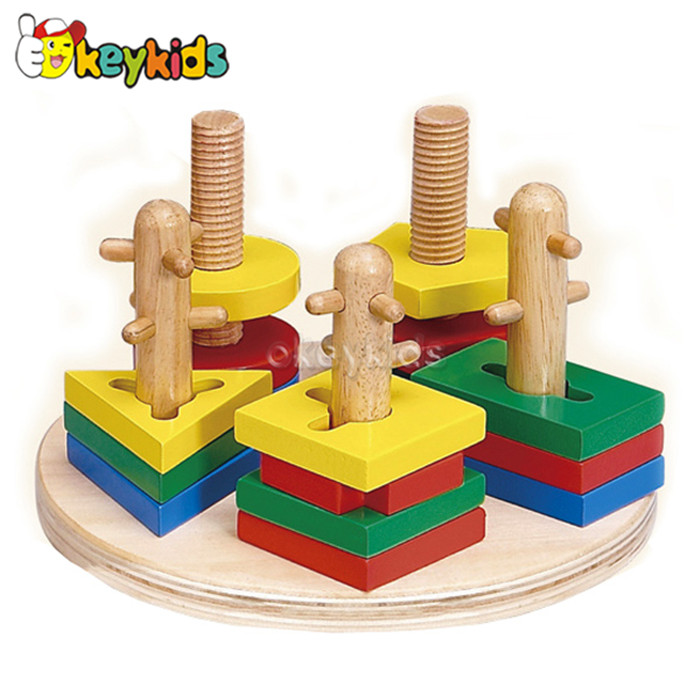 2016 wholesale baby wooden stackable toy, kids geometry wooden stackable toy, best sale children wooden stackable toy W13E014