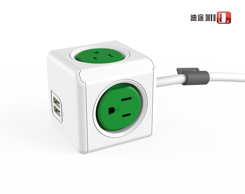 Allocacoc original Magic Power Cube US plug socket with 2 USB US Power Socket