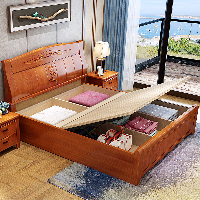Storage Bed In Design Of Hydraulic Solid Wood Bedroom Furniture