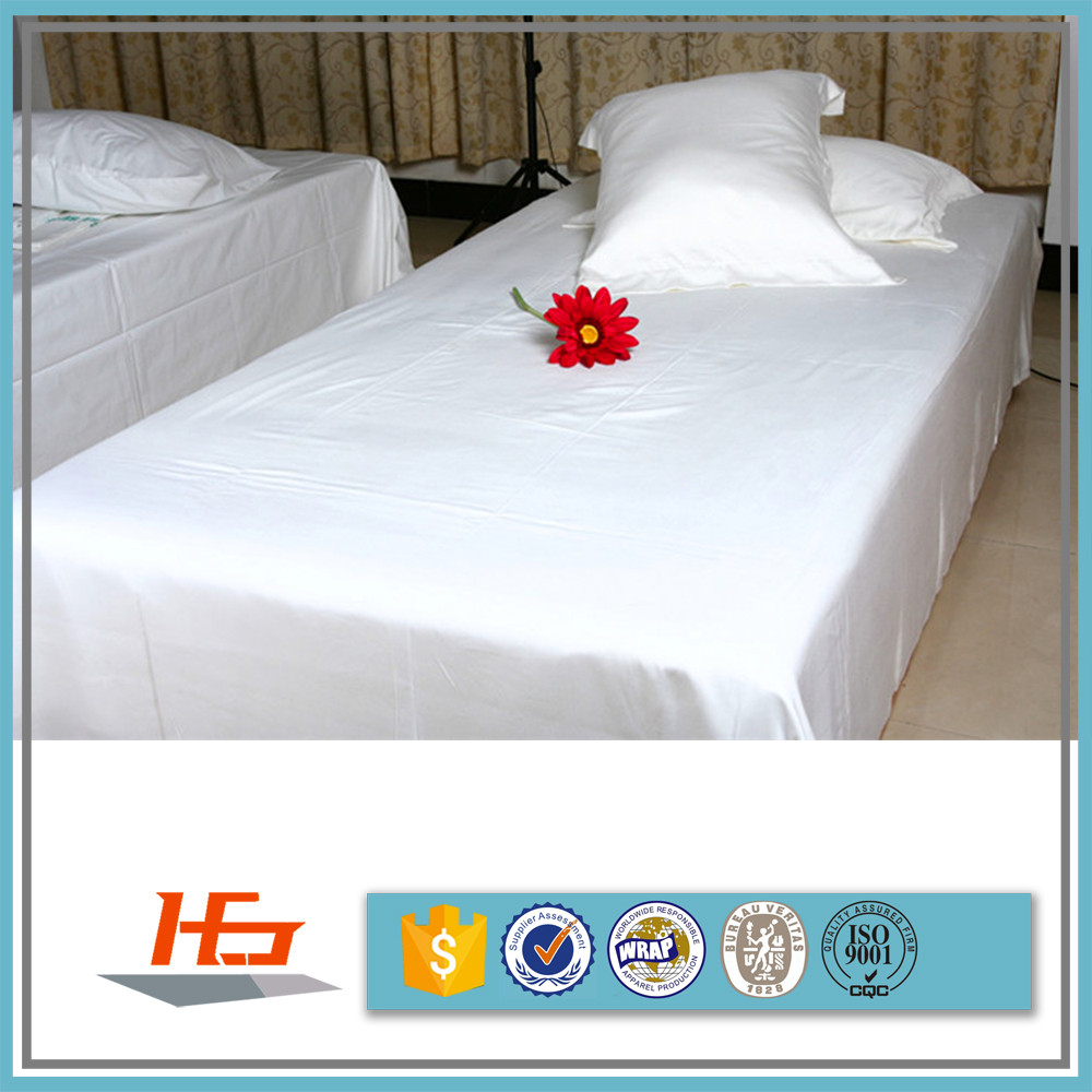 professional hotel manufacturer white polyester / cotton percale flat sheets