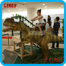 Animatronic robotic dinosaur ride for toddler playground