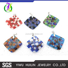 BS247Yiwu HuilinJewelry Design and color square Coloured Glaze letter pendant