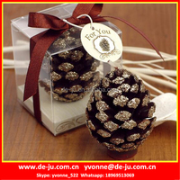 Fancy Dark Brown Pine Cone Gift Package Unique Shaped Candles