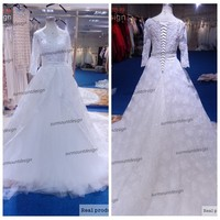 Newest Luxury White Tulle And All High Quality Appliqued Long Train Half Sleeve Wedding Dress