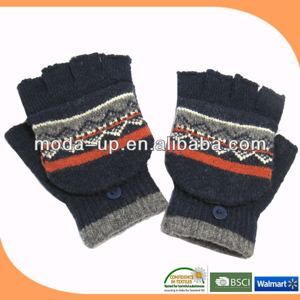 knitted fashion half finger gloves/ half finger cheap winter knit gloves