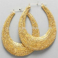 Bsketball Wives Gold Bamboo Hoop Earrings With Rhinestone Beads Cheap