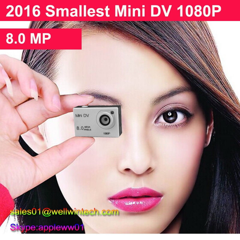 2016 New Arrival Private Mold 8.0MP Car/Motorcycle/Bike Camera DVR Smallest HD Mini Sport DV 1080P Camcorder