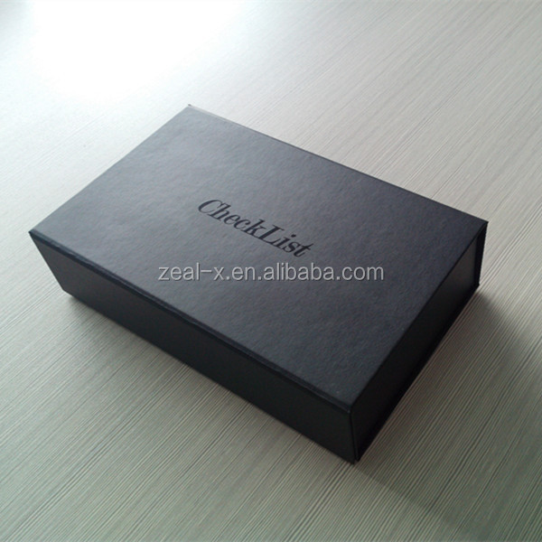 Black Fancy Paper With Logo Spot Shiny UV Effect Gift Packing Box With Strong Magnetic Catch