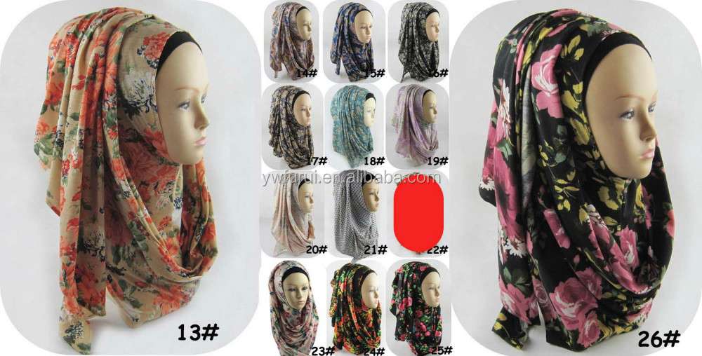 Slip On Instant Shawl Amira Style Cotton Jersey Print Muslim Hijab Scarves Long Scarf