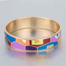 Wholesale Stainless Steel Gold Plated Bracelet Women Colorful Enamel Bangle