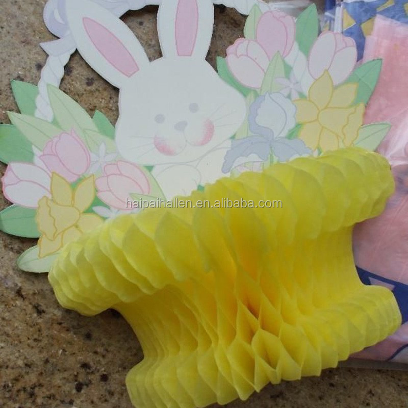 Easter Bunny Egg yellow Basket Die Cut paper Honeycomb Decoration New Rabbit