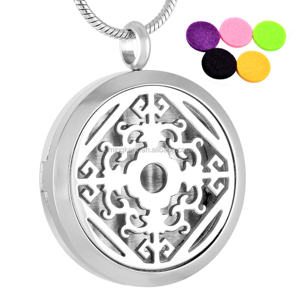 IJP0006 Custom pattern hot selling 316L stainless steel perfume locket aromatherapy diffuser necklace