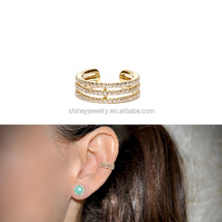 2018 factory new design vermeil 925 sterling silver three line cuff no piercing clip on earring
