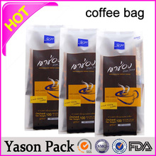 Yason foil food zipper valve heat sealed tea coffee bag foil kraft paper coffee bags gold printing