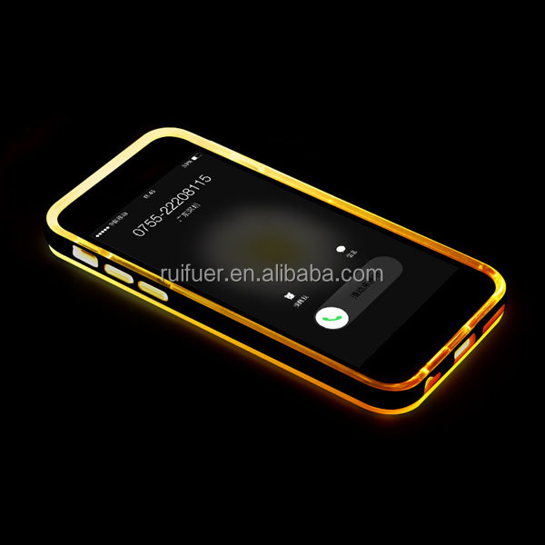 RFE TPU Back Cover with Hard PC Dual Layer Hybrid Incoming Call Led Flash Bumper Case for Iphone 5