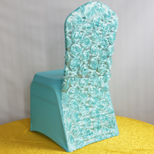 Fashionable Cheap Wholesale Spandex Satin Rosette Turquoise Chair Cover/ Chair Hood for Wedding