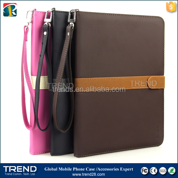 ribbon pu wallet leather case for ipad mini